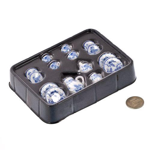 Набор фарфора миниатурный чайный, 15 предметов Голубые Цветы