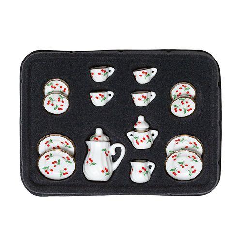 Набор фарфора миниатурный чайный, 15 предметов Вишня