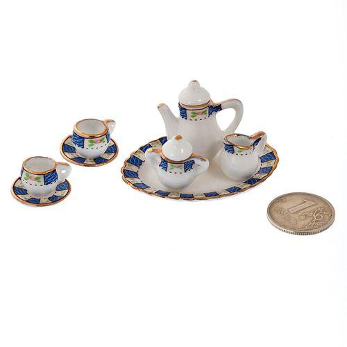 Набор фарфора миниатурный чайный, 8 предметов Синий Узор