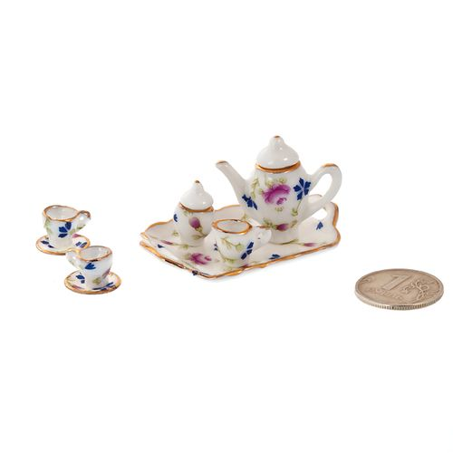 Набор фарфора миниатурный кофейный с подносом, 8 предметов Лесные цветы