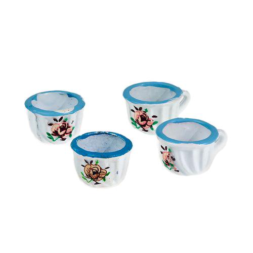 Набор 4 чашки с голубой каймой (металл)