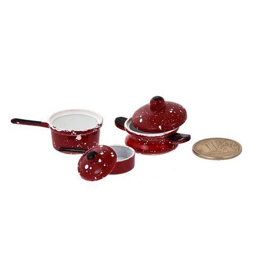 Набор металлической посуды КРАСНЫЕ эмалированные кастрюльки 3шт