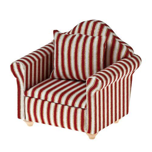 Кресло, ткань красные полосы