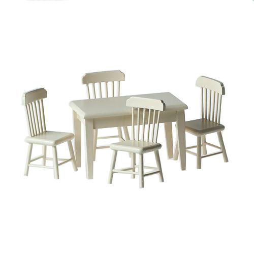 Набор стол и 4 стула, кремовый