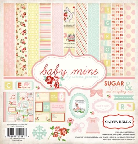 Набор бумаги 30*30 см 12 листов 1 лист стикеров Baby Mine Girl CBBMG26016