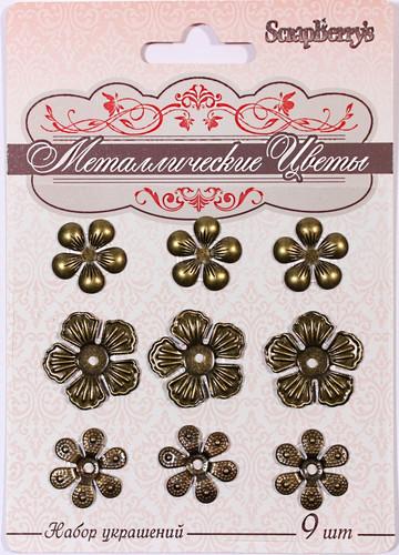 Набор металлических цветочков 9 шт SCB 0707002
