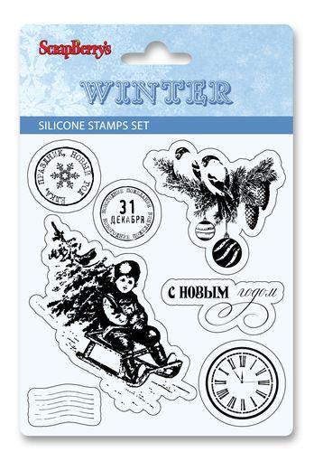 Набор силиконовых штампов 10*11см Зима набор1