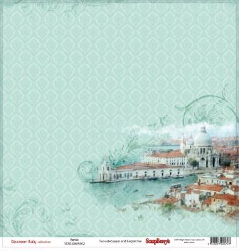 Бумага для скрапбукинга 30,5х30,5 см 180 гр/м двусторон Итальянские каникулы Венеция, 10 шт*уп
