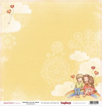 Бумага для скрапбукинга 30,5х30,5 см 190 гр/м двусторон Мальчик и девочка Верхом на Радуге (10 шт*уп