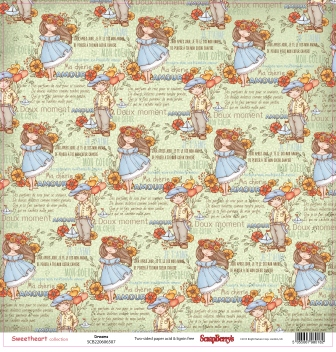 Бумага для скрапбукинга 30,5х30,5 см 190 гр/м двусторон Мальчик и девочка Мечты (10 шт*уп)