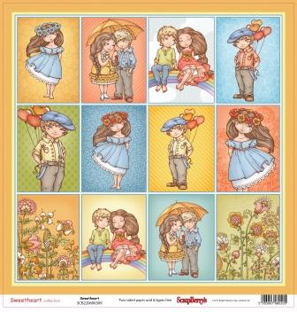 Бумага для скрапбукинга 30,5х30,5 см 190 гр/м двусторон Мальчик и девочка Мальчик и Девочка (10 шт*у