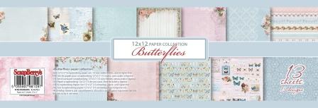 Набор бумаги для скрапбукинга 30,5х30,5 см 190 гр/м Бабочки, 13 листов