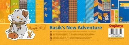 Набор бумаги для скрапбукинга 30,5х30,5 см 190 гр/м Новые приключения Басика, 9 листов