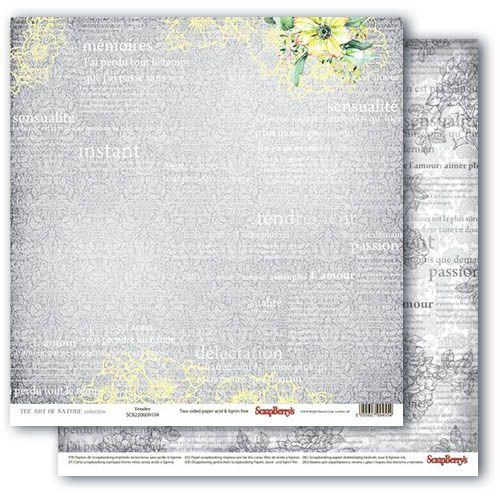 Бумага для скрапбукинга 30,5х30,5 см 190 гр/м, двусторон Разрисованная Вуаль Нежность, (10 шт/уп)