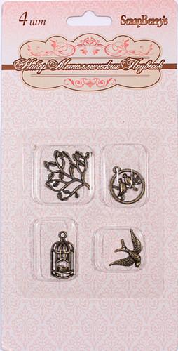 Набор металлических подвесок ПТИЧЬИ ТРЕЛИ, 4 вида по 1шт, 4шт SCB 25010003