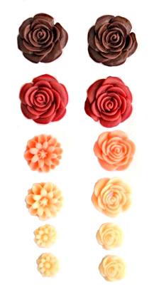 Набор объемных цветов, самоклеющиеся, 70*135мм КРАСНЫЕ ТОНА SCB 250305