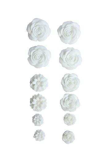 Набор объемных цветов, самоклеющиеся, 70*135мм БЕЛЫЕ SCB 250307