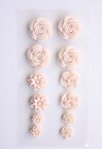 Набор объемных цветов, самоклеющиеся, 70*135мм НЕЖНО-РОЗОВЫЕ SCB 250308