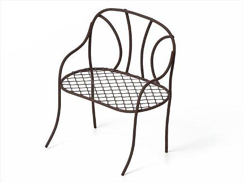Металлическая скамейка коричневая