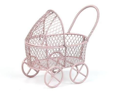 Металлическая мини колясочка розовая