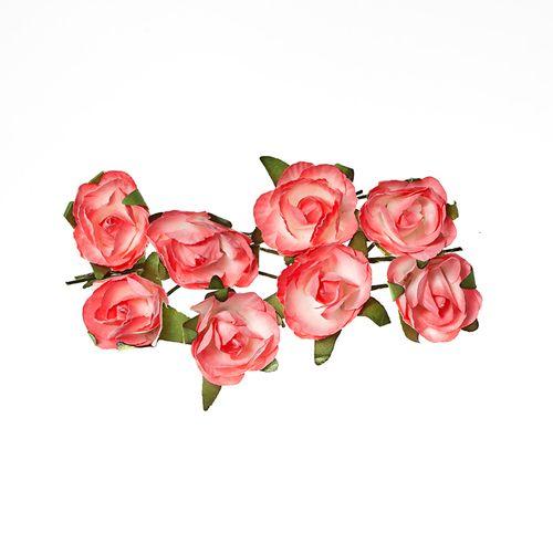 Розы из бумаги РОЗОВЫЕ, 8 шт