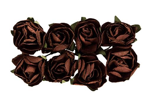 Розы из бумаги ТЕМНО-КОРИЧНЕВЫЕ, 8 шт