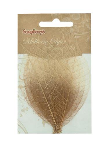 Скелетированные листочки из каучукового дерева, набор 8 шт, медно-коричневый