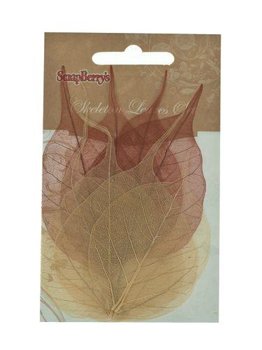 Скелетированные листочки из бананового дерева, набор 8 шт, коричневый