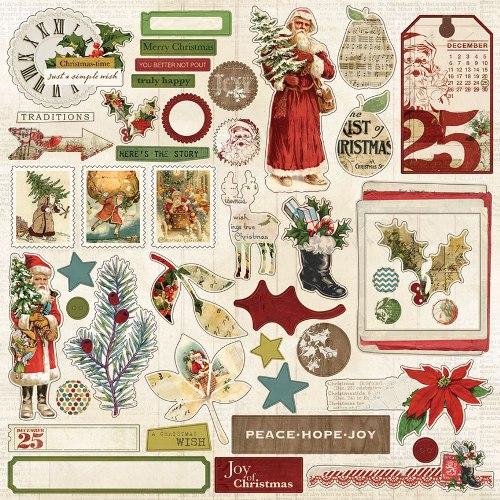 Стикеры из кардстока 30*30 см My Mind's Eye Vintage Christmas VC1013