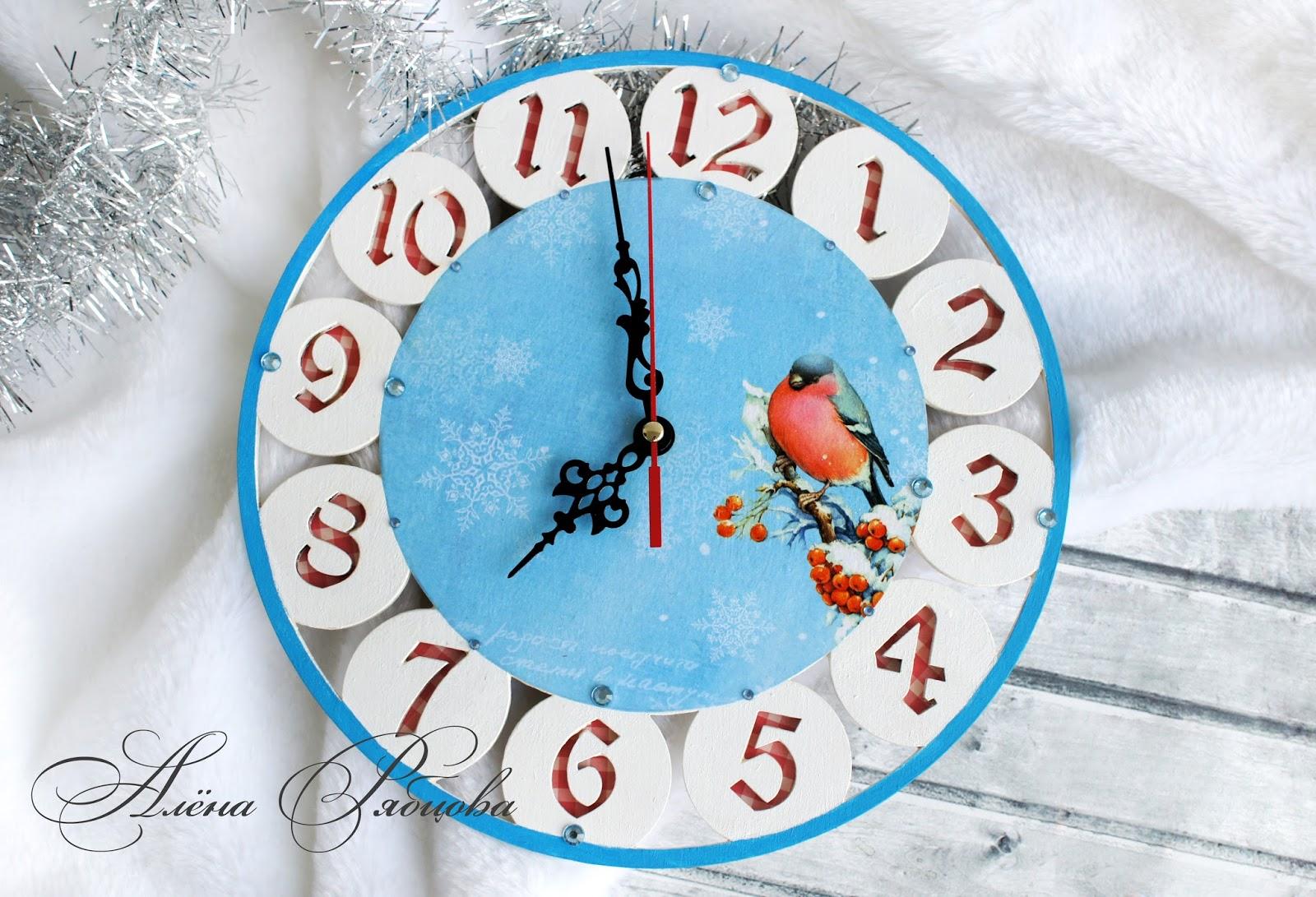 Зимние часы своими руками